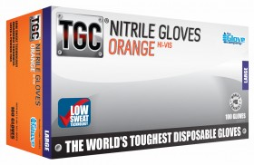TGC® Orange Nitrile Disposable Glove - Small