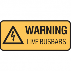 WARNING LIVE BUSBARS 125X300 SS