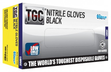 TGC® Black Nitrile Disposable Glove - X Large