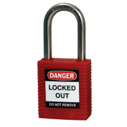 Safety Padlocks - Red - Nylon Shackled, Keyed Differently