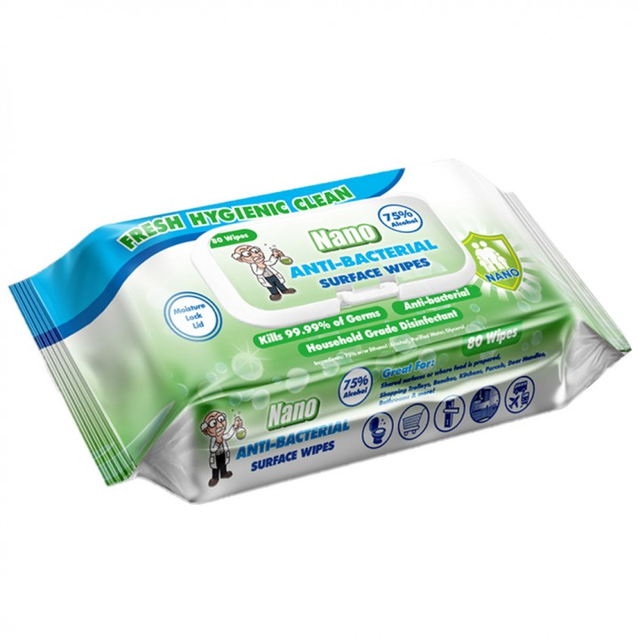 Surface Wipes, Anti-bacterial, 75% Alcohol - 80 Wipes - Image - 1