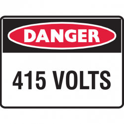 DANGER 415 VOLTS 300X225 POLY