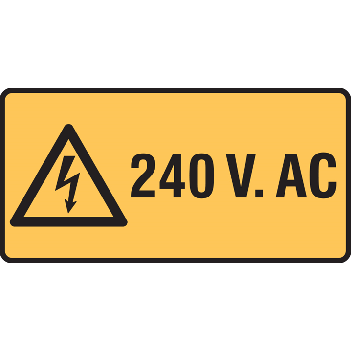 Electrical Hazard Sign - 240 Volts Ac -  Pkt. 5,  50 X 25mm - Image - 1