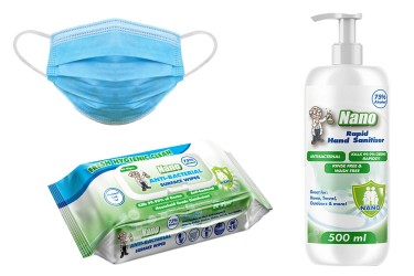 50 Disposable Surgical Face Masks, 500ml Hand Sanitiser & Surface Wipes, Pkt. 80 - Combo