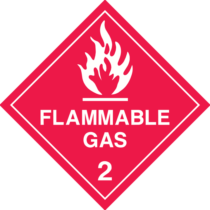 FLAMMABLE GAS 2 LABELS 250MM SS WHT    - Image - 1