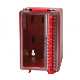 Mini Wall Lock Box - Red - 80mmw X 80/150mmh X 150mml  (also # 406717)
